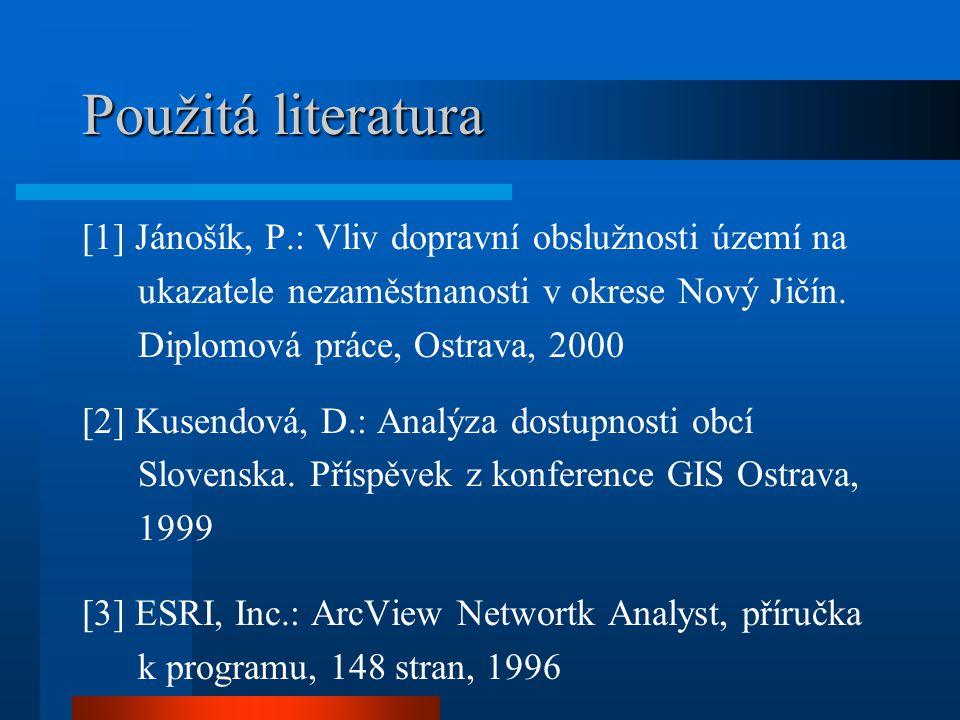 Použitá literatura [1] Jánošík, P.: Vliv dopravní obslužnosti území na